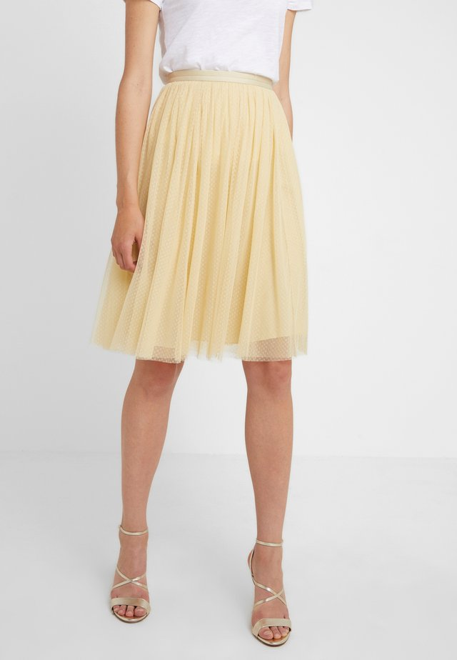 MIDI SKIRT - A-Linien-Rock - washed yellow