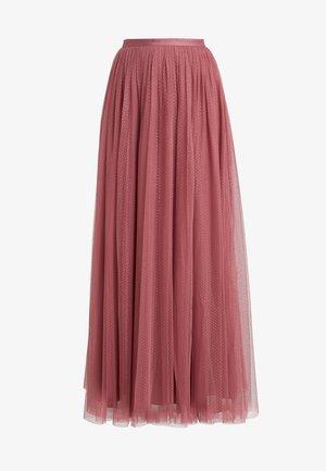 DOTTED MAXI SKIRT - Plisovaná sukně - raspberry