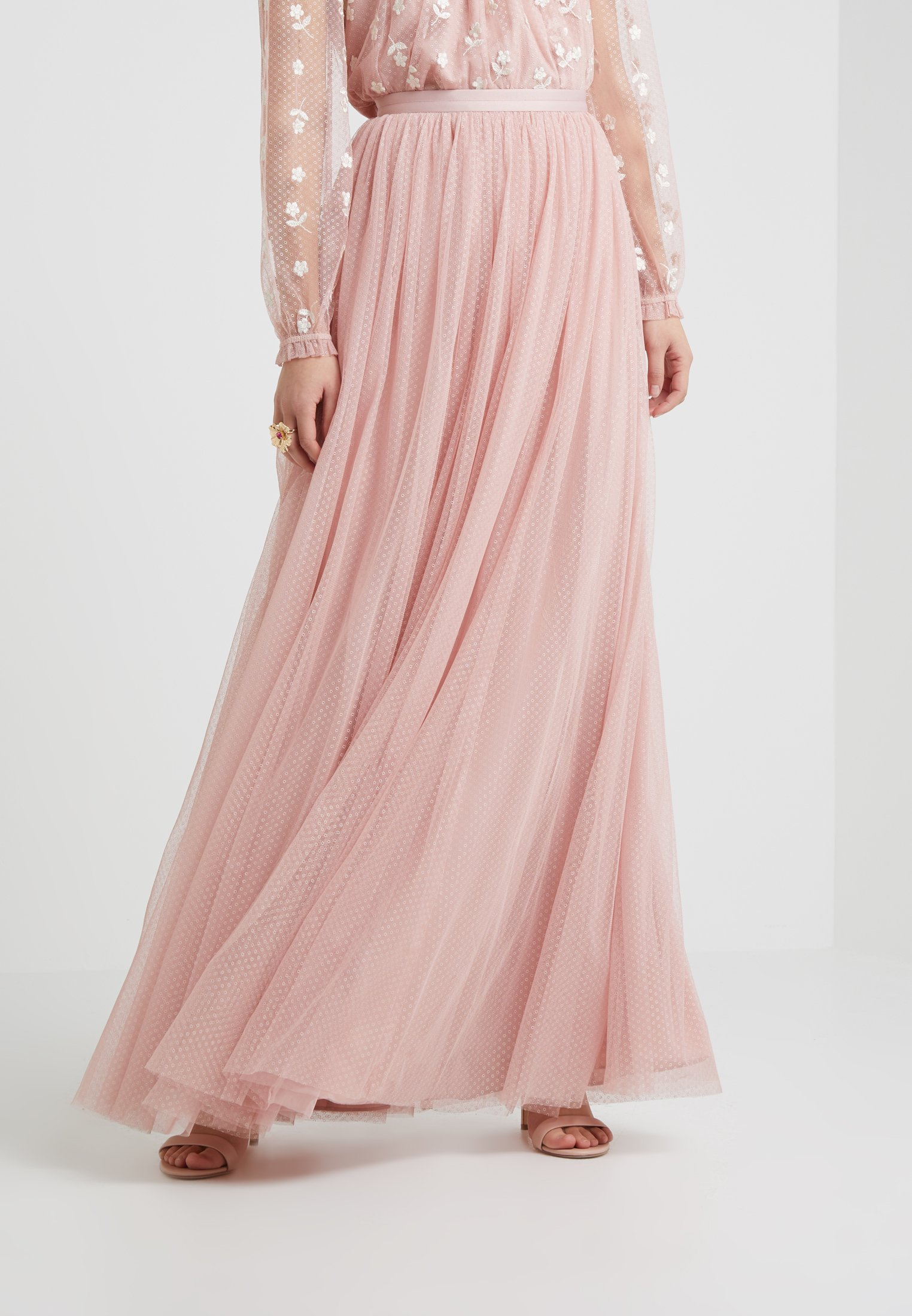 Plissée SkirtJupe Rose Needleamp; Pink Dotted Thread Maxi ZOPkXuiT