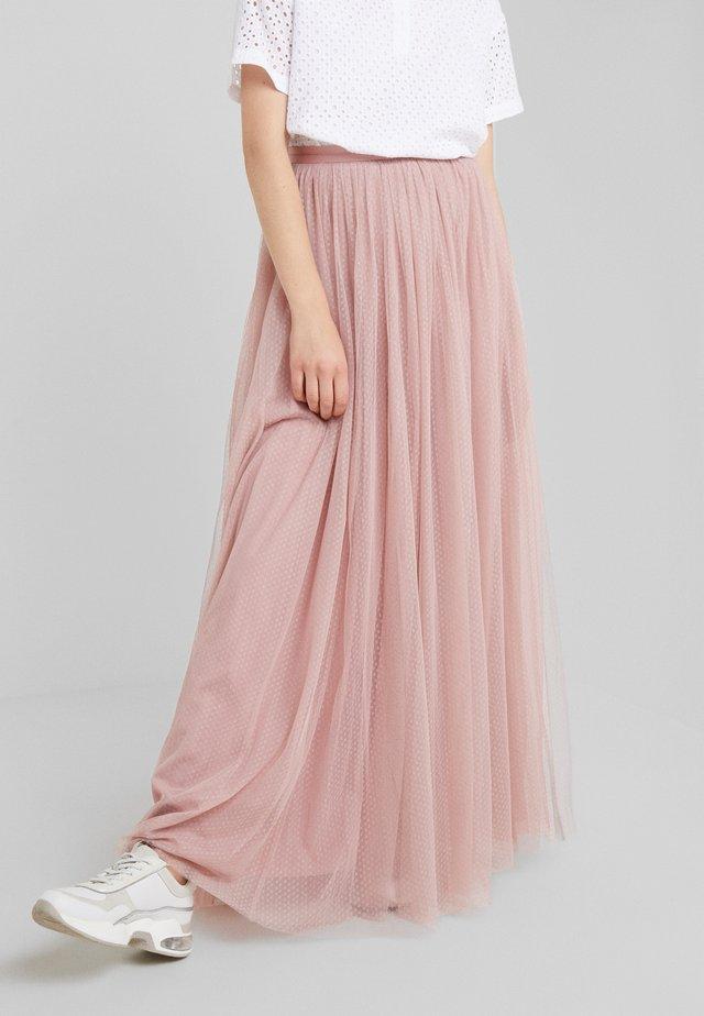 DOTTED MAXI SKIRT - Pleated skirt - iris pink