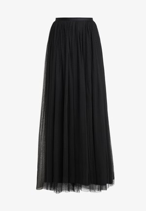 DOTTED MAXI SKIRT - Pleated skirt - ballet black