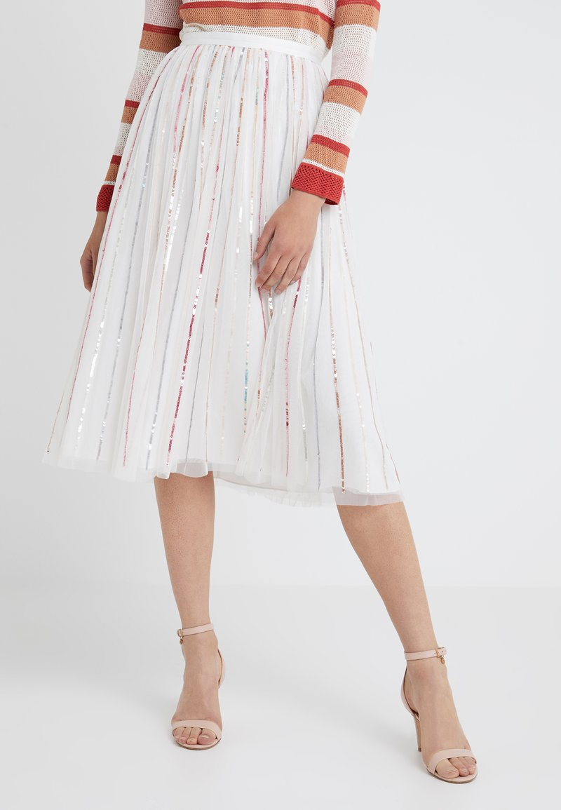 Needle & Thread - SHIMMER MIDAXI SKIRT - A-line skirt - white