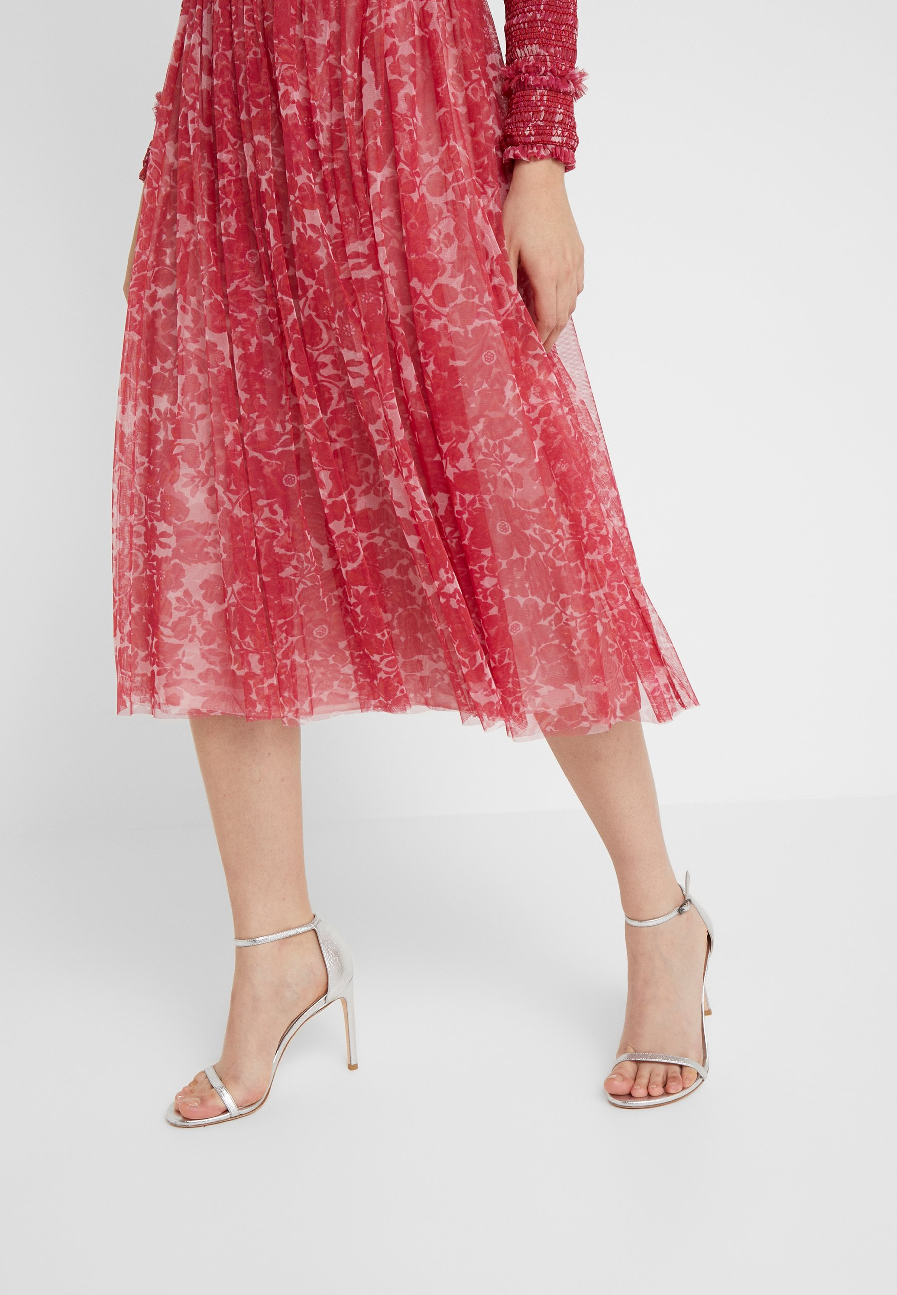 Needle & Thread FLORAL MIDAXI SKIRT - Spódnica trapezowa - cherry red