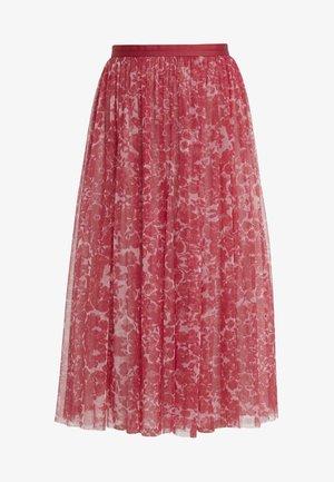 FLORAL MIDAXI SKIRT - Áčková sukně - cherry red