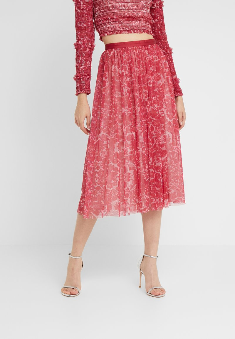 Needle & Thread - FLORAL MIDAXI SKIRT - A-linjekjol - cherry red