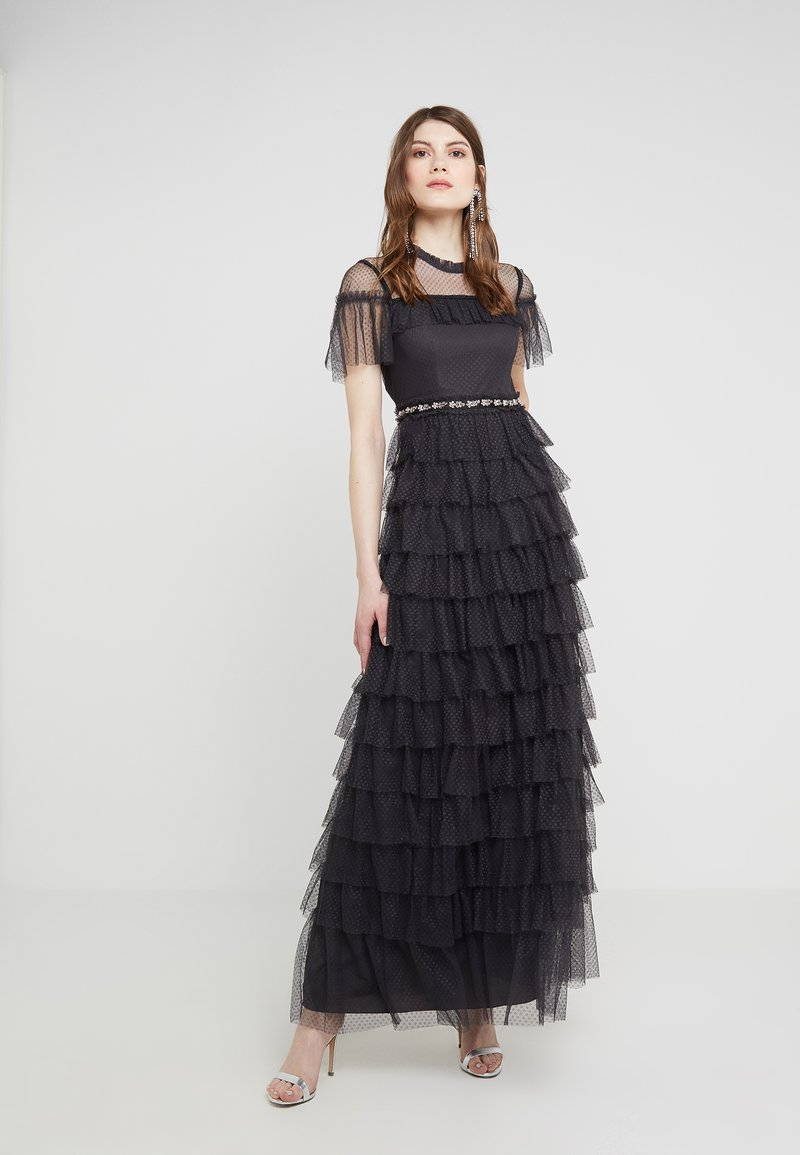 Needle & Thread - DOTTED RUFFLE GOWN        - Iltapuku - graphite