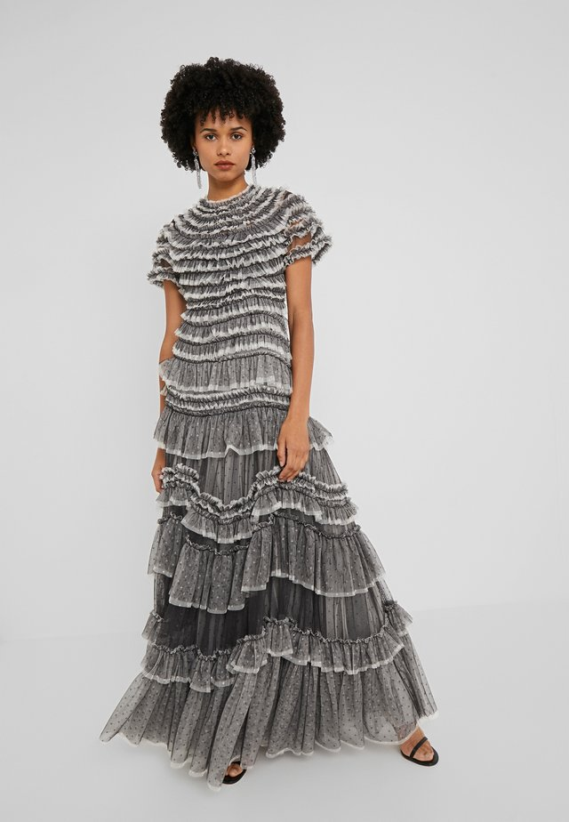 WILD ROSE RUFFLE GOWN - Occasion wear - graphite/champagne