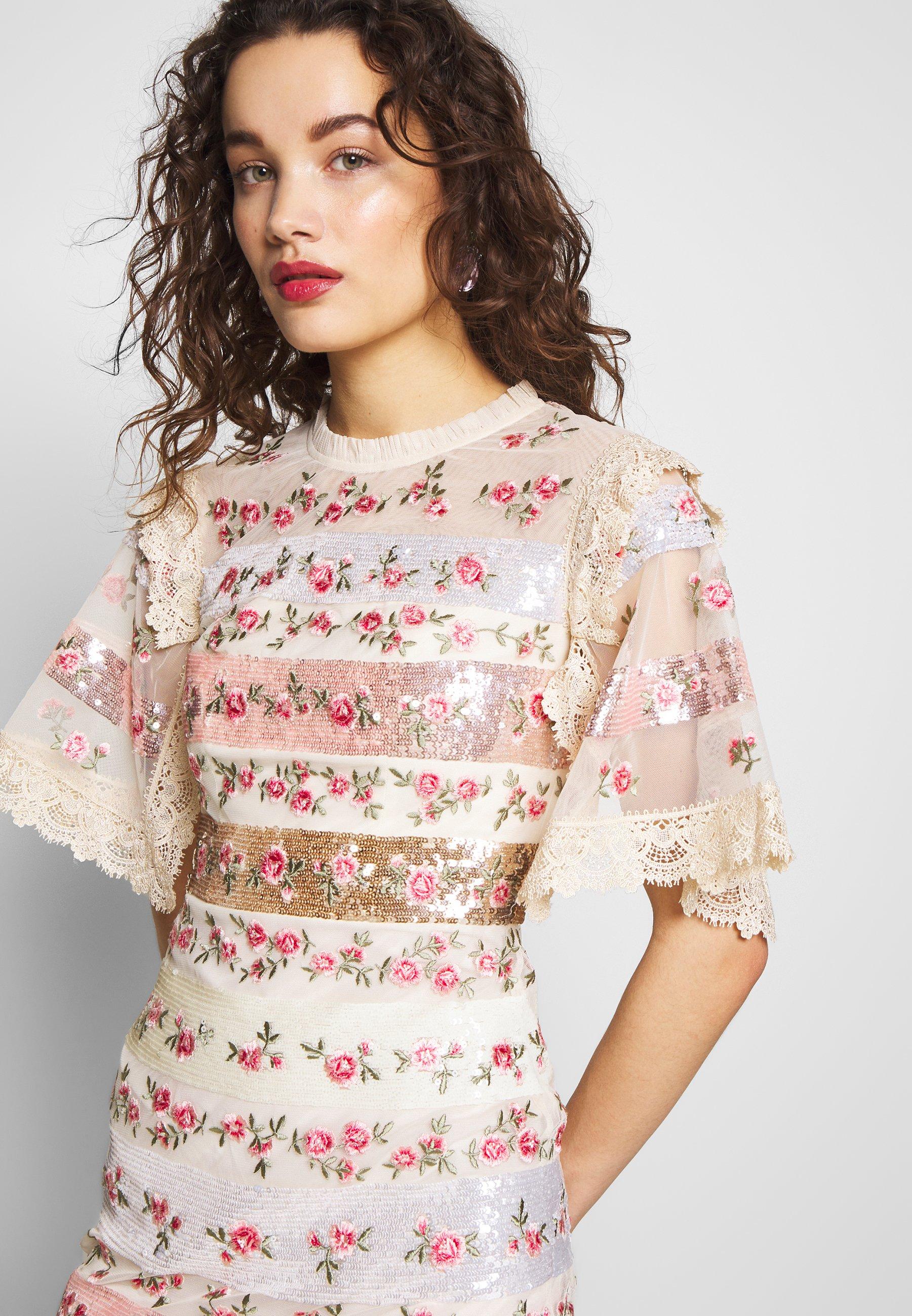 Needle & Thread Rose Bud Mini Dress - Cocktailklänning Offwhite