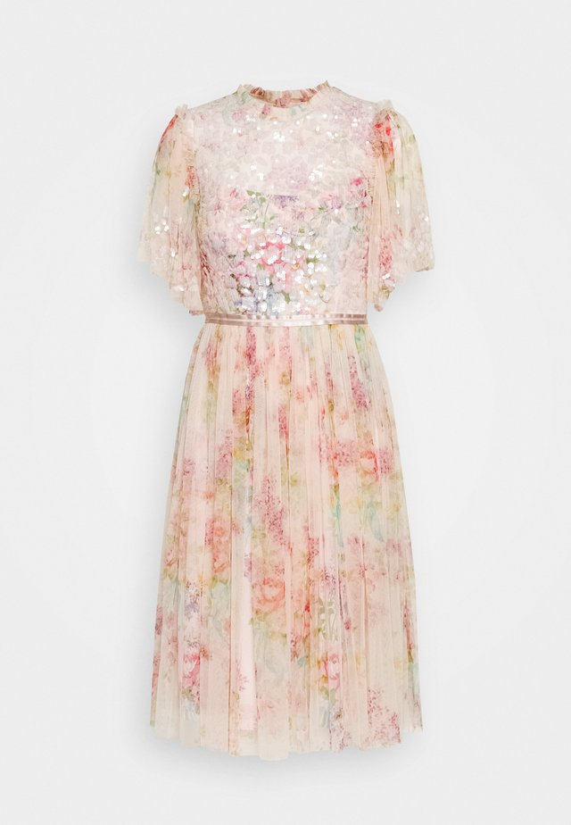 FLORAL DIAMOND BODICE MIDI DRESS - Korte jurk - pink