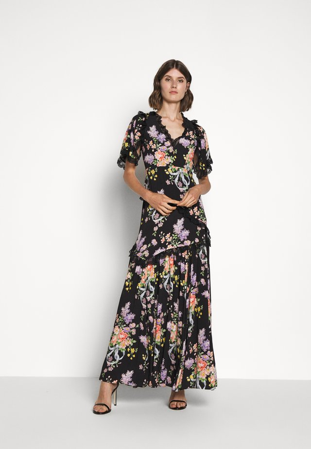 FLORAL DIAMOND ELSA V NECK GOWN - Maxi-jurk - graphite
