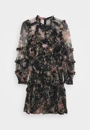 FLORAL DIAMOND RUFFLE DRESS - Vestito elegante - graphite
