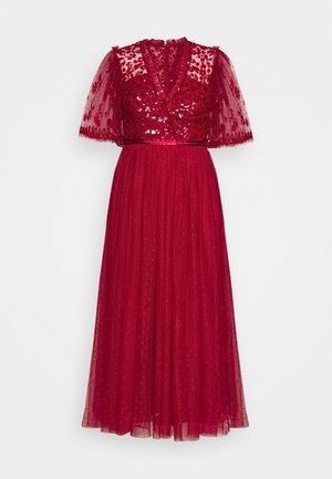 PATCHWORK SEQUIN BODICE BALLERINA DRESS EXCLUSIVE - Vestido de cóctel - deep red