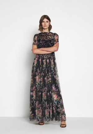 FLORAL DIAMOND BODICE MAXI DRESS - Galajurk - graphite