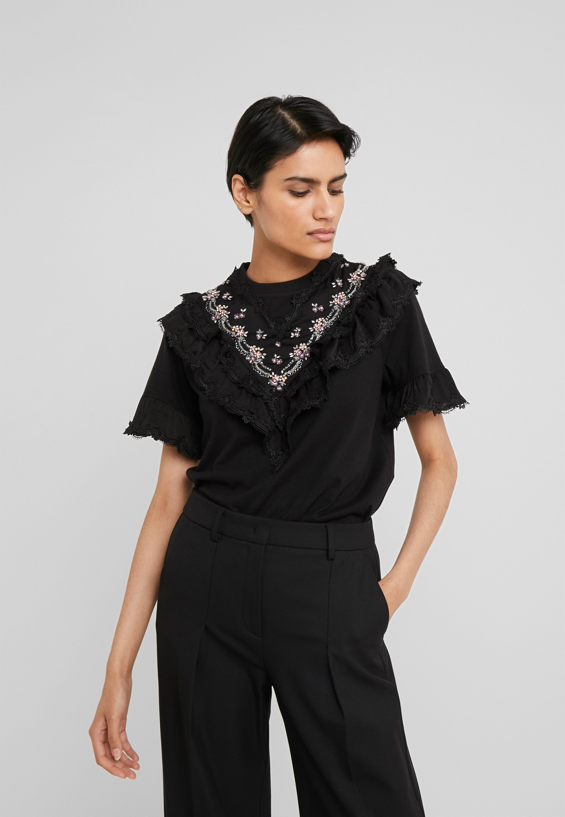 Needle & Thread EMBELLISHED WREN RUFFLE TEE - T-shirts med print - ballet black