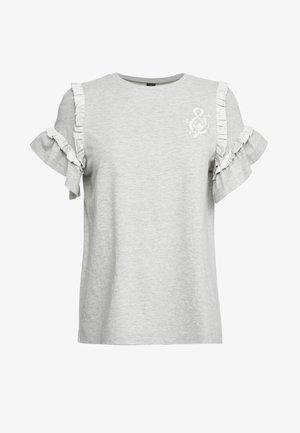 LARA RUFFLE TEE - T-shirts med print - grey marl