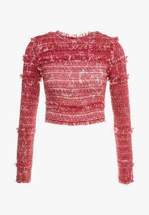 FLORAL SMOCKED LONG SLEEVE CROP - Bluser - cherry red