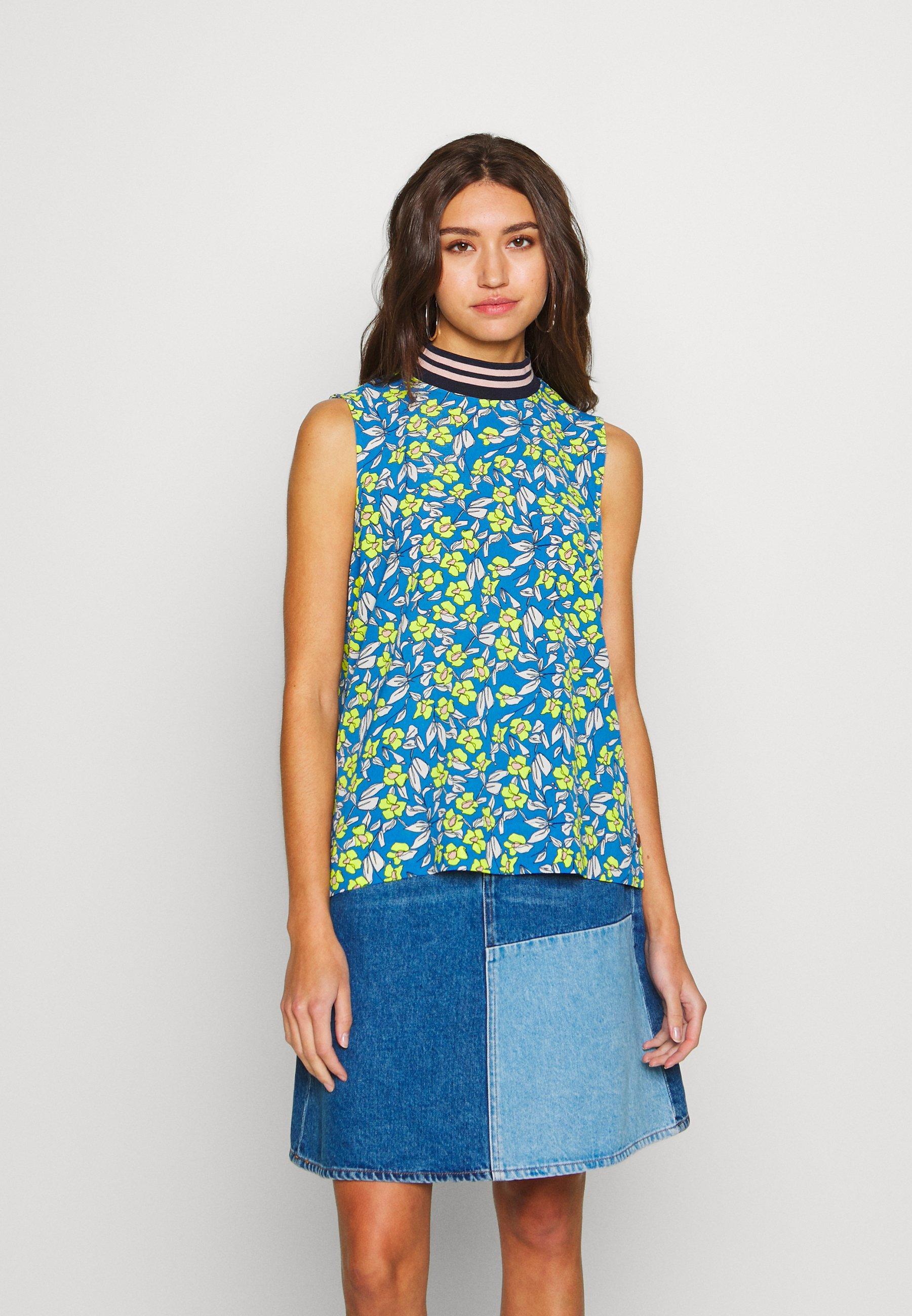 Nümph NUAIDEENSHIRT - Bluser - blue/ neon yellow