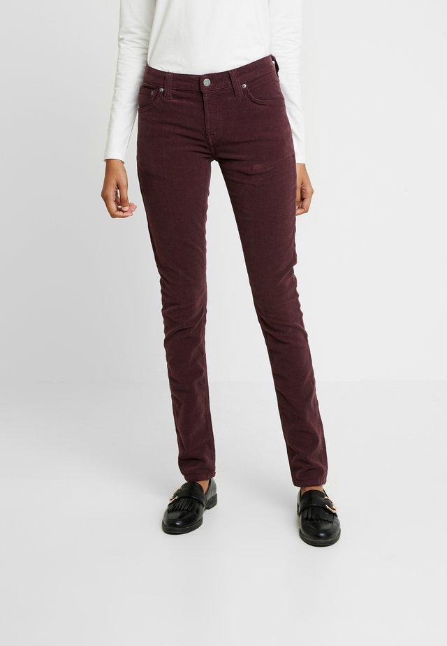 SKINNY LIN - Trousers - burgundy