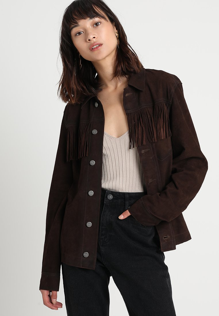 Nudie Jeans - RONNY - Leather jacket - choko