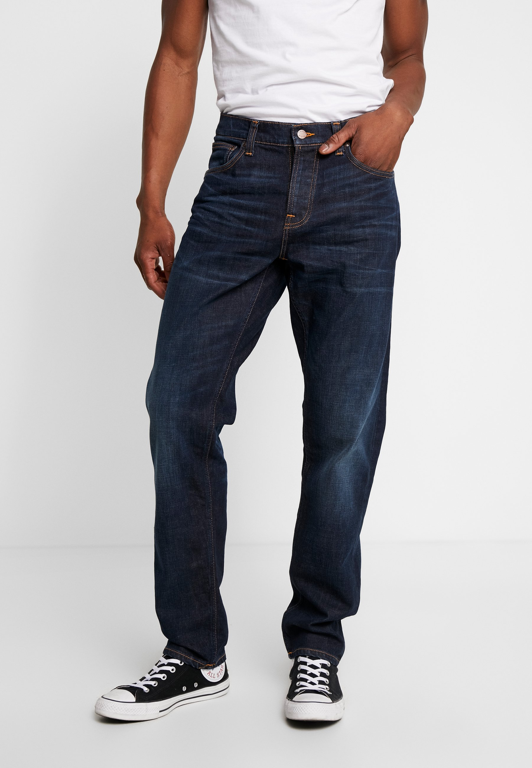Nudie Jeans STEADY EDDIE - Jeansy Straight Leg - dark crush