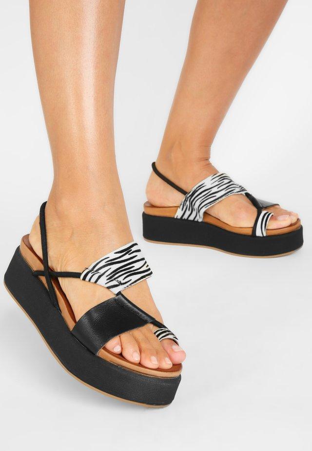 Sandalen met plateauzool - zebra-black zbk