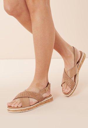 ZEBRA LEATHER CORK WEDGES - Sandals - brown