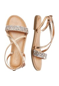 Next - ROSE GOLD CROSS STRAP SANDALS (OLDER) - Sandals - gold - 1