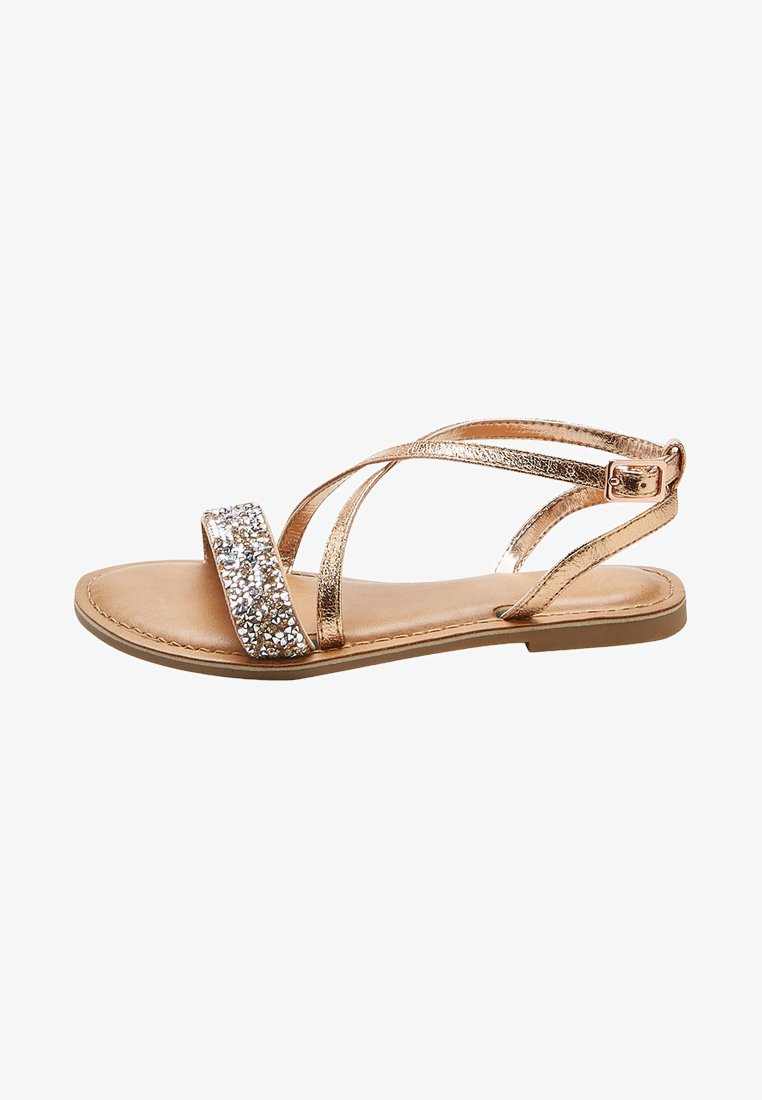 Next - ROSE GOLD CROSS STRAP SANDALS (OLDER) - Sandals - gold