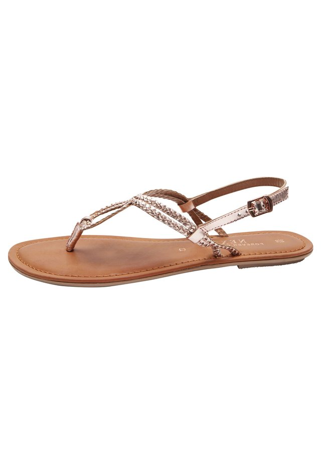 ROSE GOLD REGULAR/WIDE FIT FOREVER COMFORT® DOUBLE PLAIT TOE TH - T-bar sandals - metallic grey