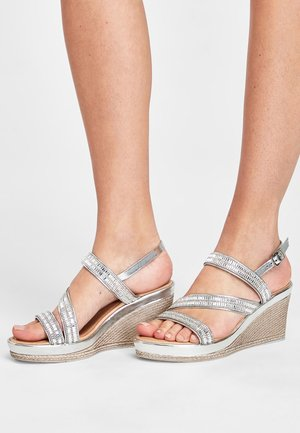 SILVER ASYMMETRIC SPARKLY WEDGES - High heeled sandals - silver