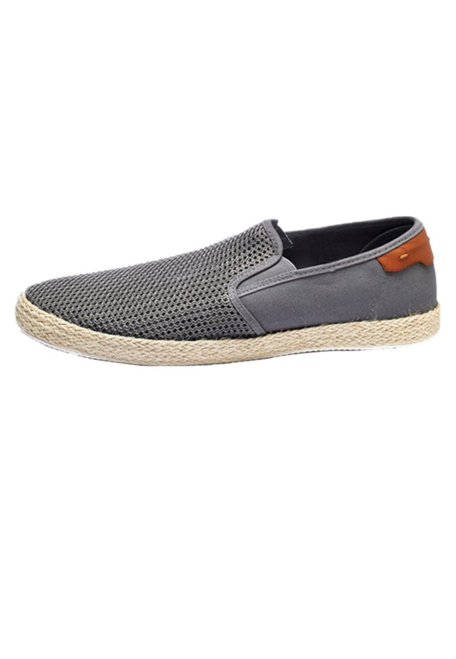 NAVY MESH JUTE SLIP-ON - Półbuty wsuwane - grey