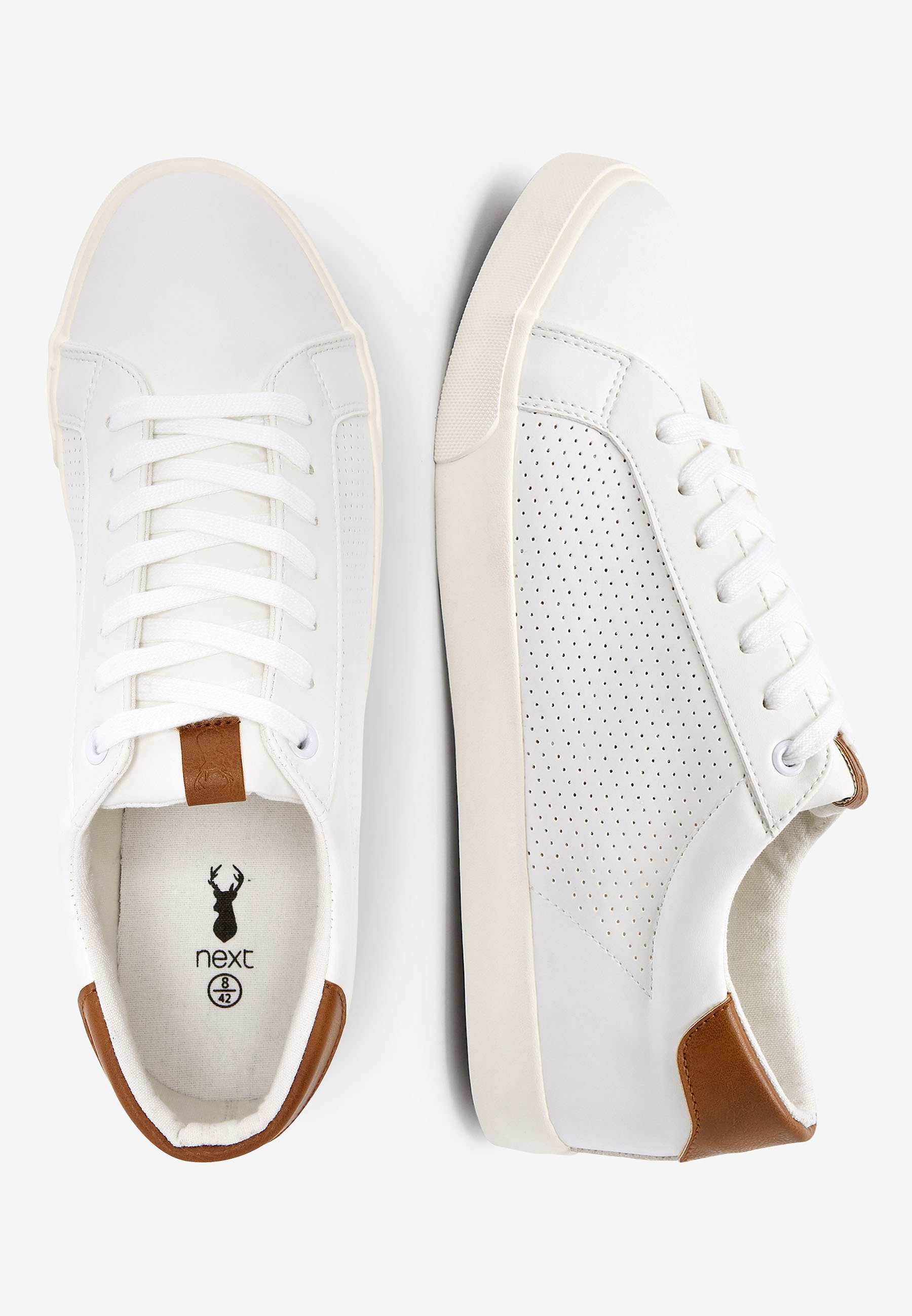 Next GREY PERFORATED TRAINERS - Sneakers basse - white