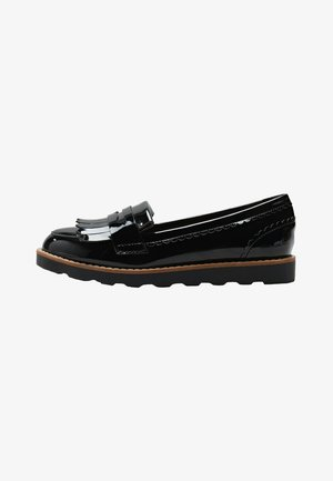 CHUNKY FRINGE LOAFERS - Loaferit/pistokkaat - black