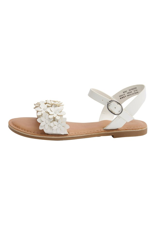 TAN FLOWER EMBELLISHED SANDALS (OLDER) - Sandales - white
