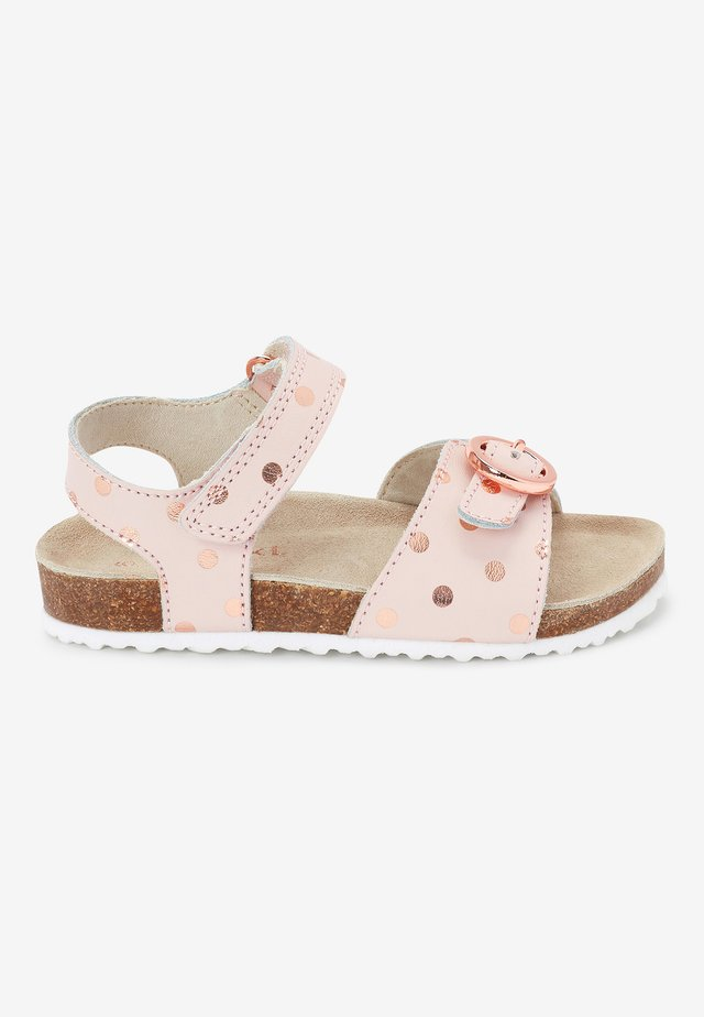 GOLD GLITTER CORKBED BUCKLE - Baby shoes - light pink