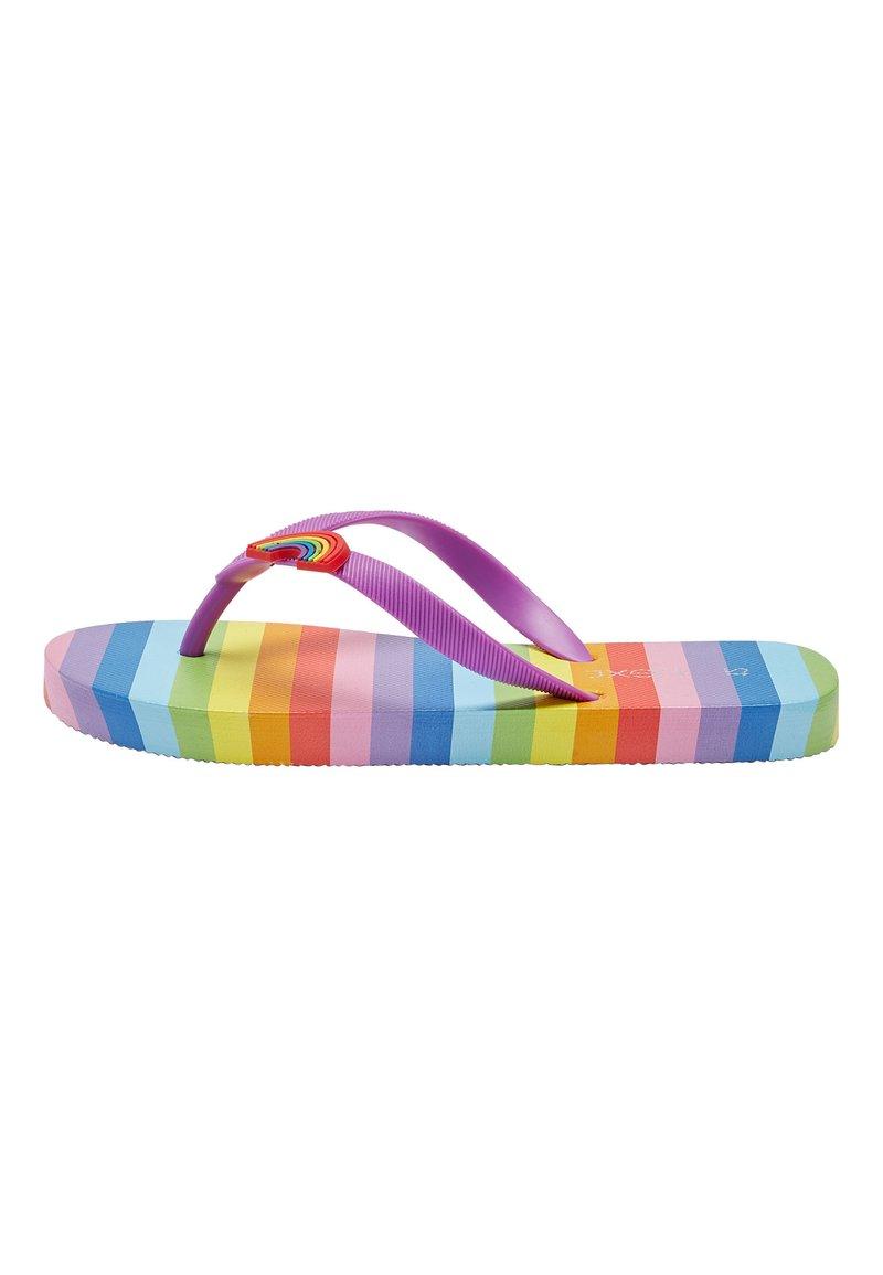 Next - RAINBOW STRIPE FLIP FLOPS (OLDER) - T-bar sandals - pink