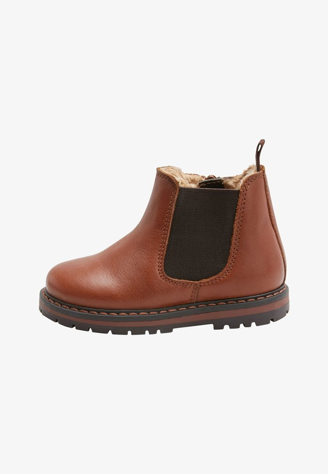 BLACK WARM LINED LEATHER CHELSEA BOOTS (YOUNGER) - Støvletter - brown