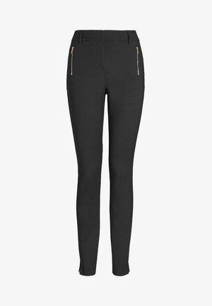 SKINNY ZIP - Spodnie materiałowe - black