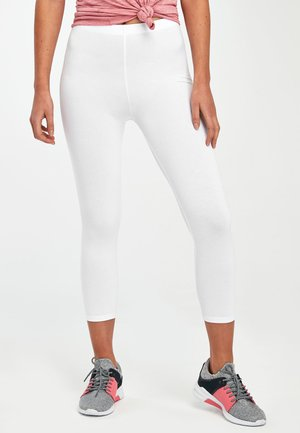 WHITE CROPPED LEGGINGS - Leggings - white