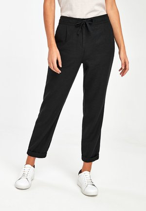 BLACK LINEN BLEND TAPERED TROUSERS - Kalhoty - black