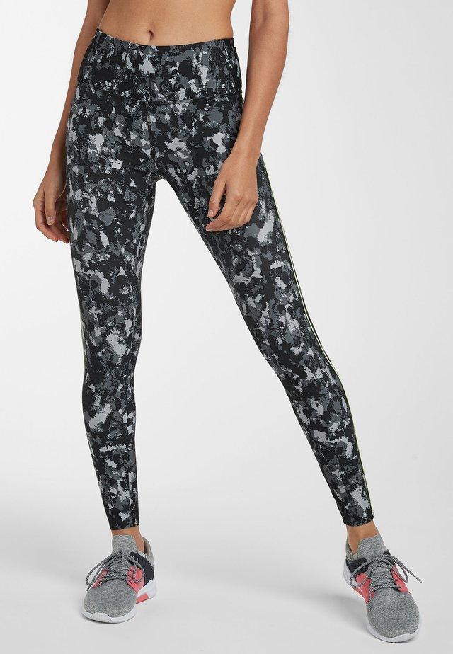BLACK CAMO PRINT COLOURBLOCK LEGGINGS - Leggings - black