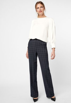 NAVY CONTRAST TEXTURED CHECK BOOT CUT TROUSERS - Bukser - blue