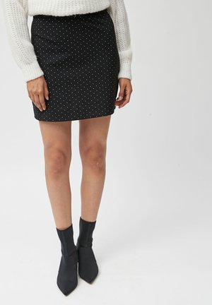 BLACK POLKA DOT PONTE MINI SKIRT - Minifalda - black
