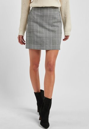 MONOCHROME CHECK MINI SKIRT - Minijupe - grey