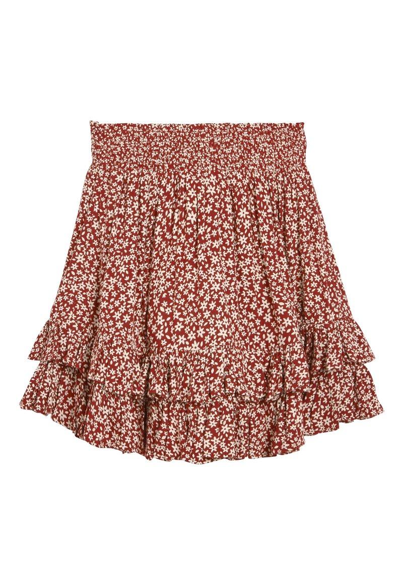 Next - MONOCHROME SPOT RUFFLE SKIRT (3-16YRS) - A-line skirt - red