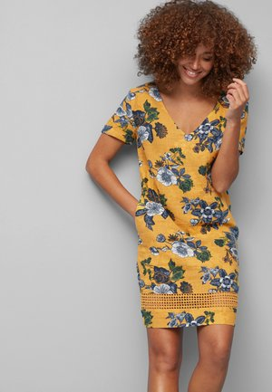 LINEN BLEND - Korte jurk - dark yellow