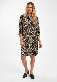 Next - NAVY ANIMAL SHIRT DRESS - Shirt dress - mottled brown - 1