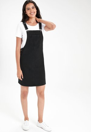 BLACK DENIM PINAFORE DRESS - Spijkerjurk - black