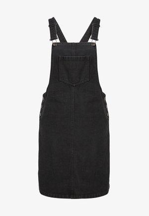 BLACK DENIM PINAFORE DRESS - Spijkerjurk - black
