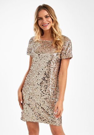 NAVY SEQUIN T-SHIRT DRESS - Cocktail dress / Party dress - gold